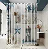 vistale Shower Curtain Nautical Beach Seashell Starfish Fabric Decorative Bathroom Bath Curtains Set with 12 Hooks Durable Waterproof 72 x 72 Inches