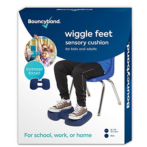 """Bouncyband Wiggle Feet, Dark Blue, 12"""" x 15"""" x 2.5"""" – Foot Fidget Cushion, Sensory and ADHD Tools Can Help You Stay on Task Longer - Alleviate Anxiety/Stress, Hyperactivity and Boredom"""