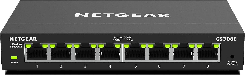 NETGEAR Switch Ethernet de 8 puertos GS308E, Switch Gigabit Smart Plus, hub Ethernet metálico de sobremesa, negro