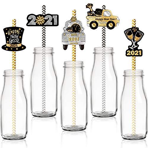 50 Stücke Neujahr Papier Stroh 2021 Gold Weiß Papier Strohhalm Schwarz Weiß Papierstroh Einweg mit 50 Stücke Karten für Neuejahr Hochzeit Partyzubehör