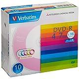 バーベイタムジャパン 三菱ケミカルメディア Verbatim 1回記録用 DVD-R DHR47JM10V1 (5色レーベル/片面1層/1-16倍速/10枚) カラーミックス