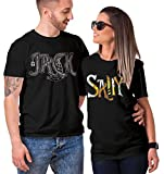 Matching Couple Jack/Sally T-Shirt (Black/Black, Mens Large/Ladies Large)
