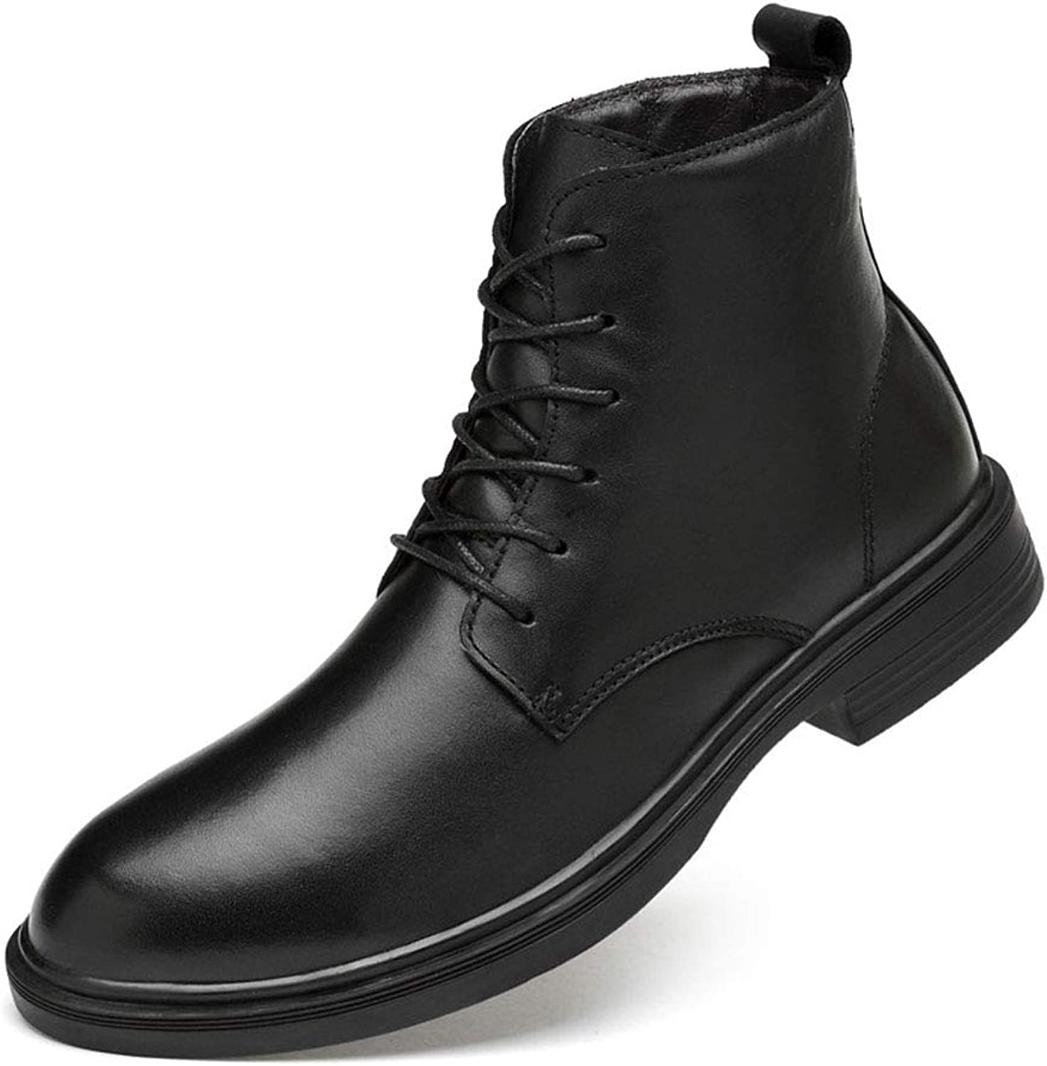 Men's shoes Men's Boots, Large Size Fall Winter Martin Boots British Plus Velvet Boots Men's Leather Booties For Daily Men's Fashion Boots (color   B, Size   41)