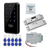 HFeng IP68 Kit de Sistema de Control de Acceso de Puerta Exterior Resistente al Agua Teclado RFID + Cerraduras Electrónicas de Perno de Caída + 10pcs Llaveros Para el Hogar