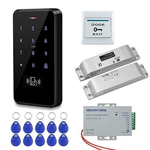 HFeng IP68 Kit de Sistema de Control de Acceso de Puerta Exterior Resistente al Agua Teclado RFID + Cerraduras Electrónicas...