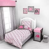 Bacati - Elephants Pink/Grey 4 Pc Toddler Bedding Set