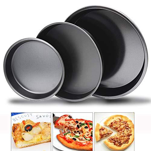 3PCS Round Cake Tin Set, Sandwichdose Pizza Backformen Kuchen Gerichte Quiche Tortenform, Antihaft geriffelte Flan Dose/Quiche Backform (6 Zoll 8 Zoll 9 Zoll)