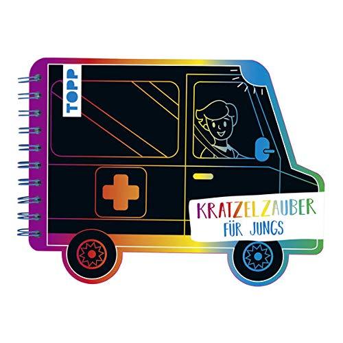 Kratzelzauber Für Jungs (Kratzelbuch in Autoform): Formgestanztes Kratzelbuch in Autoform. Mit Holz-Kratzstift, 20 Kratzelseiten, 20 Malanregungen und 40 Skizzenseiten.
