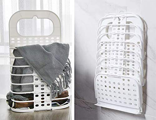 YYYC Dirty Clothes Bag Storage Basket Dirty Clothes Bin Plastic Household Bathroom Storage Easy to Install Durable Practical Wall-Mounted Design Foldable Hollow Laundry Basket (White, Small)