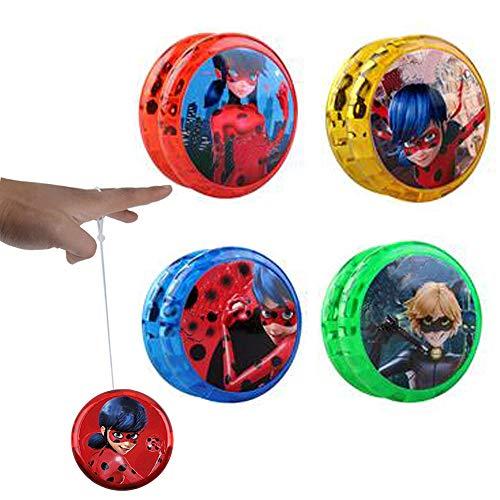 Ladybug Yo-yos Ball Flash LED Leuchten Spielzeug für Kinder Kreative Jonglieren Cosplay Spielzeug für Mädchen oder Kinder Action-Figuren Geschenk (4 Paket)