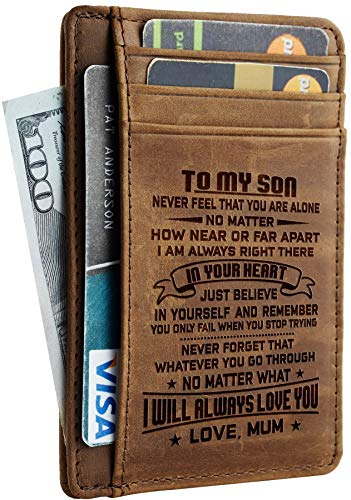 Toughergun Mother to Son Gift Best Christmas Birthday Gifts Slim Wallet (Mother to Son CH khaki)