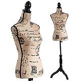 Black Female Dress Form Mannequin Torso Body with Black Adjustable Tripod Stand Dress Jewelry Display