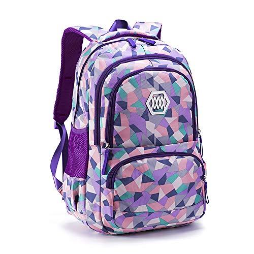 Ou-Ruo-LaM-bag Mochila Escolar para niñas con Estampado geométrico, Morado, 24x33x48cm