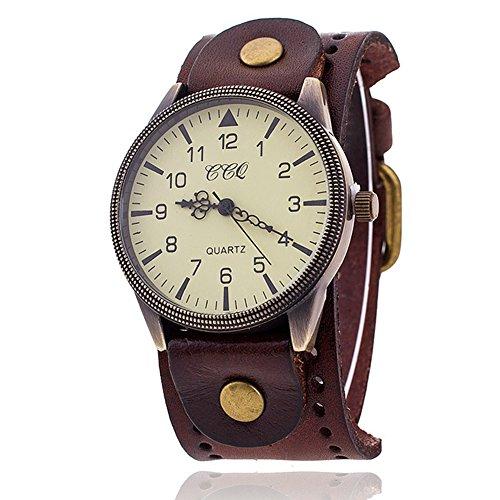 FENKOO Unisex Vintage-Leder-Band große Zifferblatt Quarz Analog Armbanduhr