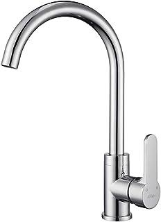 AiHom Küchenarmatur mit 360° schwenkbar, Wasserhahn Küche gebogen aus Messing, rund Spültischarmatur mit hoher Auslauf, Hochdruck Armatur Einhebelmischer, Chrom