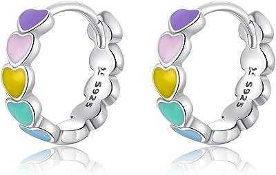 GDDX Orecchini a cerchio cuore arcobaleno in argento sterling cartilagine simpatici orecchini Huggie gioielli di compleanno regali per le donne
