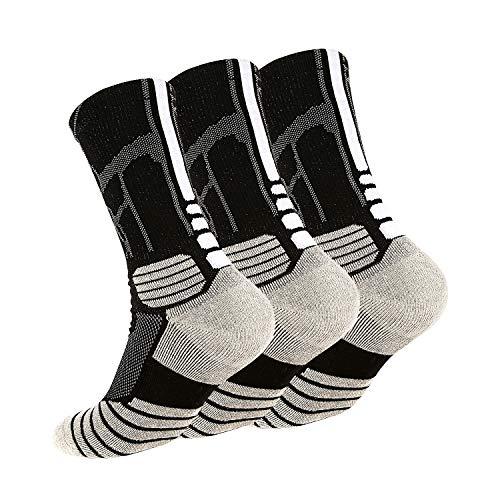 N-A Tisone Elite Basketball Socks for Kids & Adault, 3/5 Pairs Cushioned Mid-Calf Athletic Sports Crew Socks for Boys Girls Men & Women