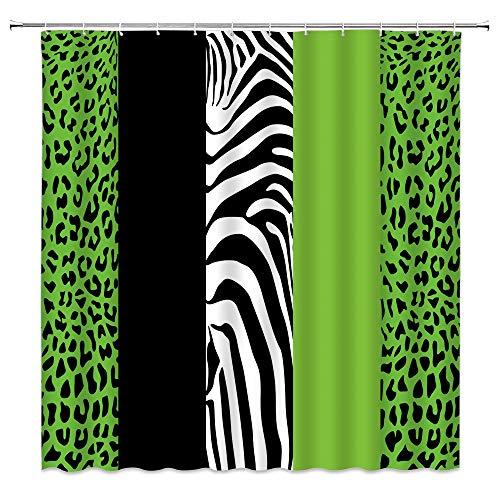 Leopard Print Shower Curtain African Animal Panthera Skin Splice Geometric Square Zebra Stripe Patchwork Wild Safari Pattern Black Creative Art Decor Fabric Bathroom Curtain Set 71x71 Inch with Hooks