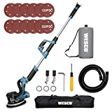 Drywall Sander, WESCO 6.5-Amp Electric Drywall Sander with Automatic Vacuum System, 6 Variable Speed, Extensible aluminum Handle, LED Light, Dust Hose, Storage Bag, 12-Piece Sanding Discs/WS4463KU