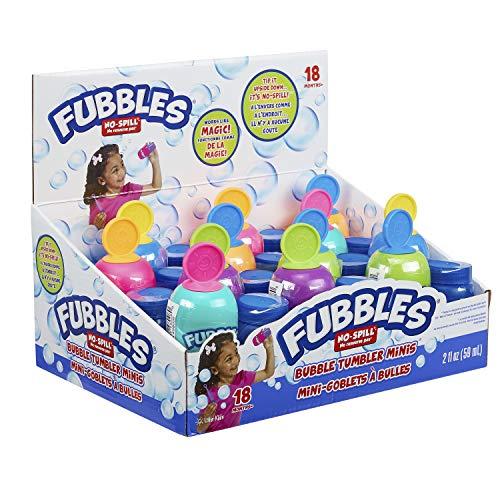 Little Kids Fubbles No-Spill Bubble Tumbler Minis Party Favor 12 pack, Includes 2oz bubble solution and a wand per bottle (assorted colors) , Brown