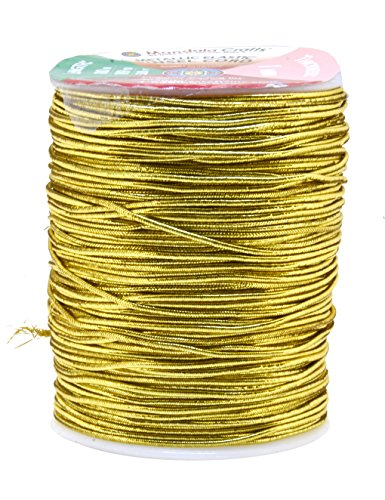 Mandala Crafts Metallic Cord Tinsel String Rope for Ornament Hanging, Decorating, Gift Wrapping, Crafting; Elastic 1mm 109 Yards, Light Gold