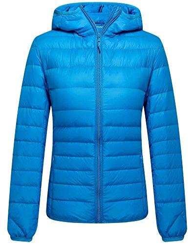 ZSHOW Women's Outwear Hooded Down Coat Lightweight Packable Fashion Jackets, Medium, Acid Blue