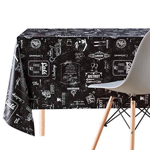 Manteles Hule Rectangular Estilo Impresión de Tiza Negro de PVC Fácil de Limpiar - 200 x 140 cm - Mantel de Plástico Fácilmente Limpiable con Diseño de Cafetería Coffee