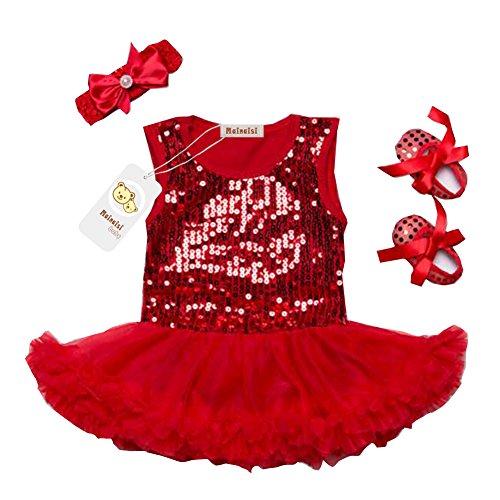 Mainaisi Bebè tutù vestito con paillettes + fascia + scarpa 3pcs Imposta Abitini Bodysuit, 0-24 mesi