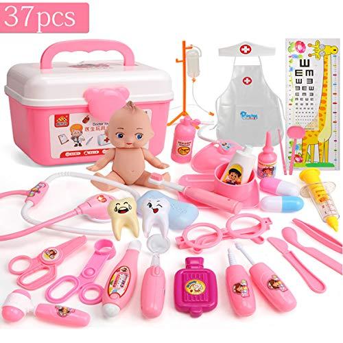Yansion 37 Pezzi Kit Medico Giocattoli Set Infermiera Dress up Kit Giochi di Ruolo Giocattoli con Custodia per Il Trasporto Set Medico Apprendimento Set Medico Risorse Regalo per Bambini (Pink)