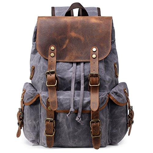 Canvas Rucksack Leder Waxed Segeltuch Vintage Retro Laptop Backpack Casual Daypack Reisetasche Schule Herren Damen Studenten grau