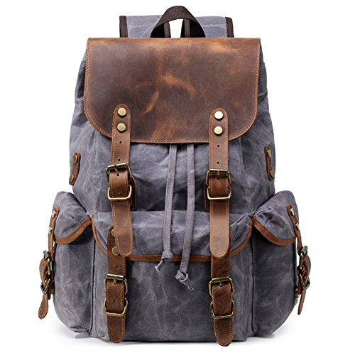 Kemy's Mens Waxed Canvas Backpack Leather Rucksack for Men Wax Leather Backpacks Travel...