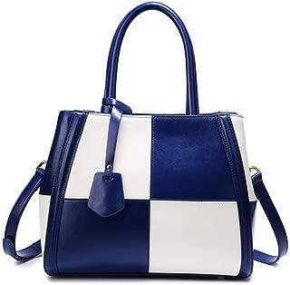 Fashion Leather Handbag Hit Color Leather Big Bag Large Capacity Shoulder Messenger Bag (Color : Blue)