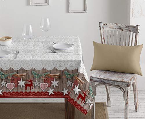 1KDreams Tovaglia Natalizia in Cotone. Decorazione Raffinata e Moderna. Classico Natale in Chiave Moderna. Shabby Chic. Made in Italy. (130x180 cm)