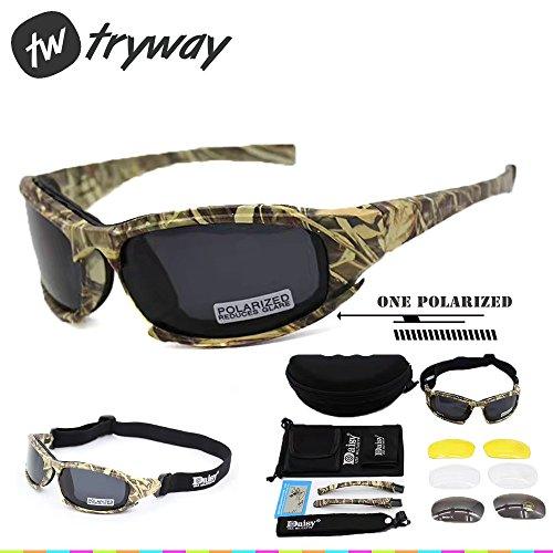 Taktischer Augenschutz, Schutzbrille 4LS, für Herren, Militär-Stil, X7Polarisierte Sonnenbrille, kugelsicher, Airsoft-Brille, Motorradbrille, Fahrradbrille, Camouflage polarized