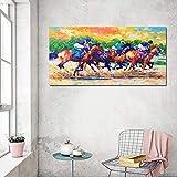 Pintura contemporánea con cuchillo carreras de caballos pintura de paisaje mural nórdico de alta calidad sin marco A 30x60cm