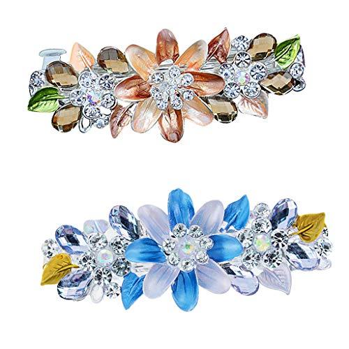 Colcolo 2pcs Flor de Cristal Brillante Pasador de Primavera Pasador de Pelo Gancho Horquilla
