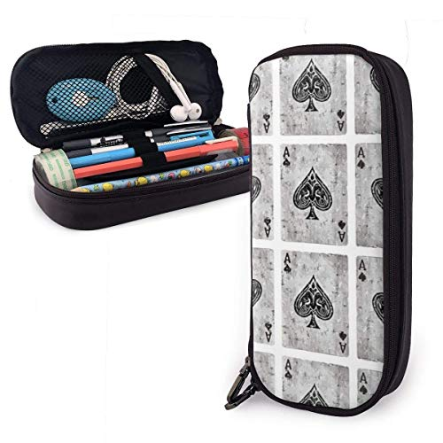 Hdaw Waterproof Leather Vintage Ace of Spades Card Poker Lover Pencil Case Makeup Box Pouch High Capacity Stationery Holder Storage Organizer with Zipper for School Office Travel