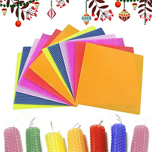 Beeswax Candle Making Kit,12PCs 8'X 8' DIY Colorful Beeswax Honeycomb Sheets for Hanukkah and Party, Rolling Candle Molds Supplies for Kids, Adults with 98.5 Inch Candle Wicks