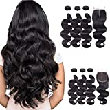 Body Wave Brazilian Virgin Hair 3 Bundles With Closure (10 12 14 +10) 8A Indian Body Wave Remy Hair 100% Unprocessed Body Wave Human Hair Extensions Natural Black