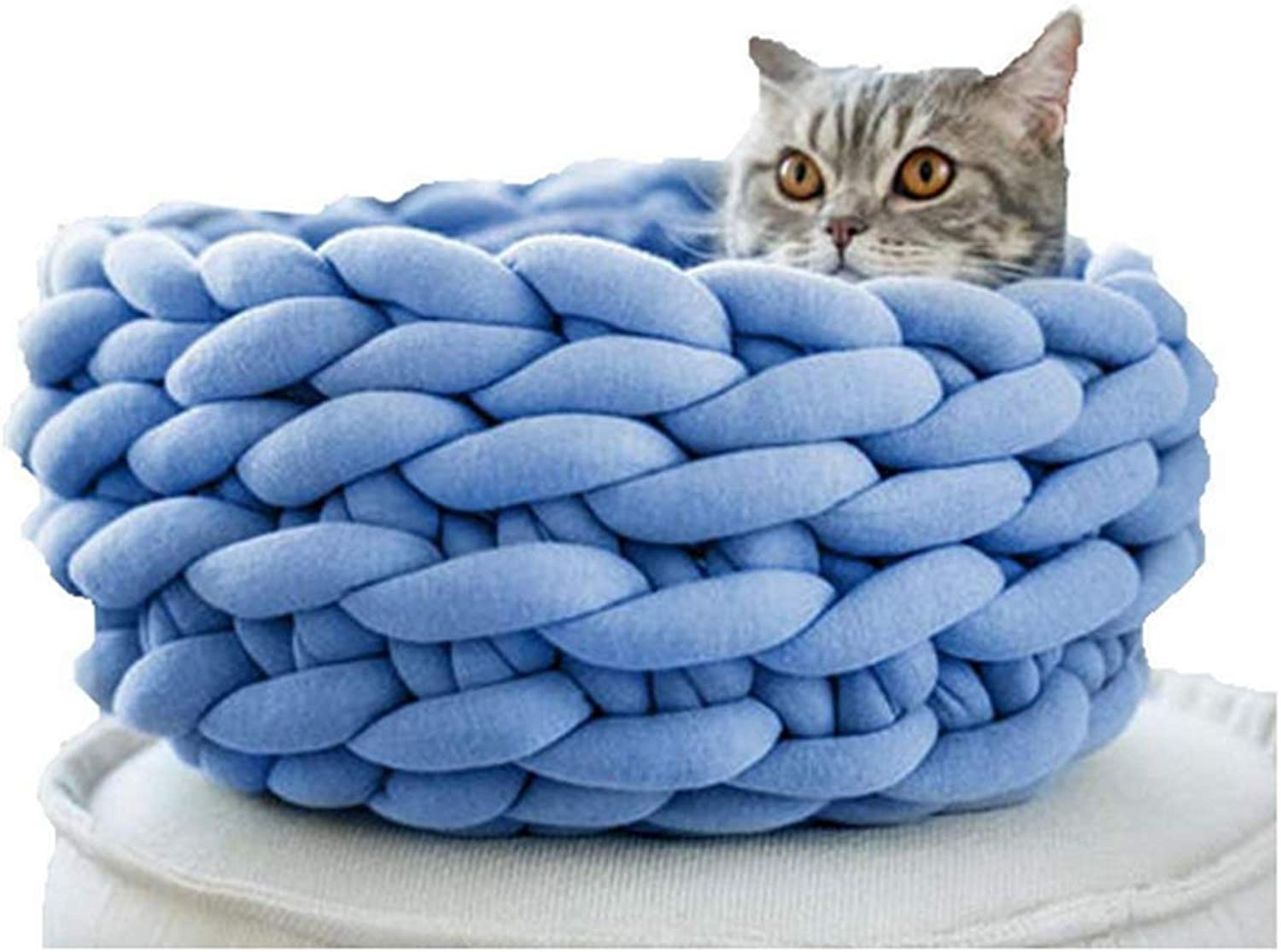 Braid Cat Cave Handmade Pet House Basket Chunky Crochet Cat Bed (35cm, bluee)