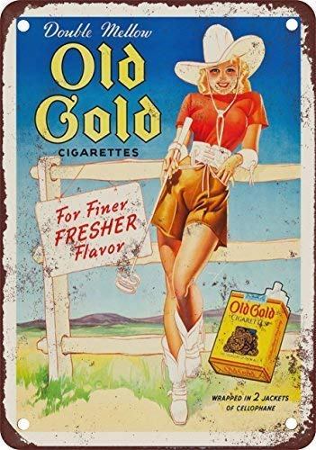 TGDB 1942 Old Gold Cigarettes and Cowgirl Vintage Look Reproduction Metal Tin Sign Size 8x12 inch