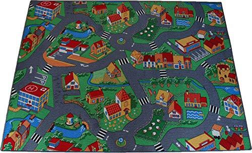 Teppich Janning Straßenteppich Spielteppich Little Village Bauernhof Dorf Kinderteppich Verschiedene Größen (140 x 200 cm)