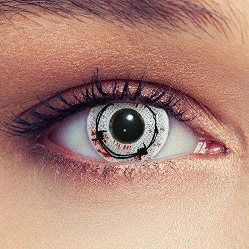 Blutige Zombie Kontaktlinsen Model: Blood Spike weiße blutige Kontaktlinsen