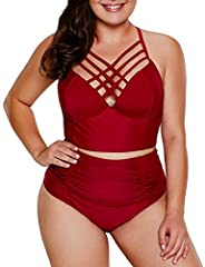 Chic design--bikini top with crossed strappy detail and adjustable straps Great Support--underwire,soft bra paddings for a push-up effect. Please choose one size up. Moderate Coverage--ruched high waisted bikini bottoms for tummy control Enjoy your s...