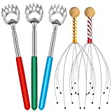 Telescopic Back Scratchers & Hand Held Scalp Head Massagers Set for Adults Kids and Pets Great Gift (3 Pieces of Back Scratchers & 2 Pieces of Head Massagers)