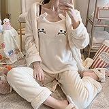 Empty Pijamas de Mujer Pijamas de 3 Piezas Mujer Otoño e Invierno Sling Gatito Pijamas de Franela Señoras de Longitud Media Servicio a Domicilio Coreano-M
