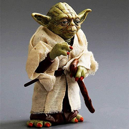 Figura de acción Juguetes de Mano de PVC Star Wars Master Yoda Ropa Real Modelo móvil Decoración de muñeca Alto 13cm
