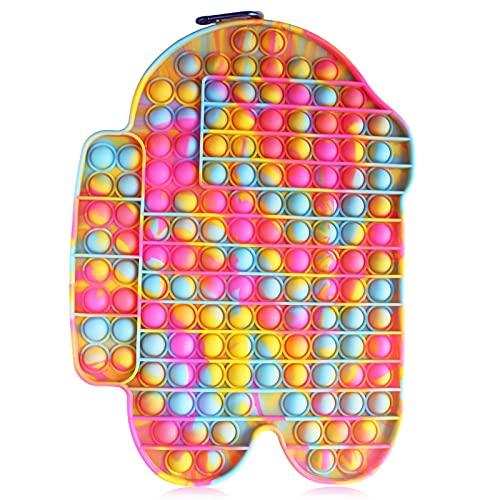 Big Size Pop Push Bubble Fidget Sensory Toy, Jumbo Rainbow Silicone Fidget Poppers, Anxiety Stress...