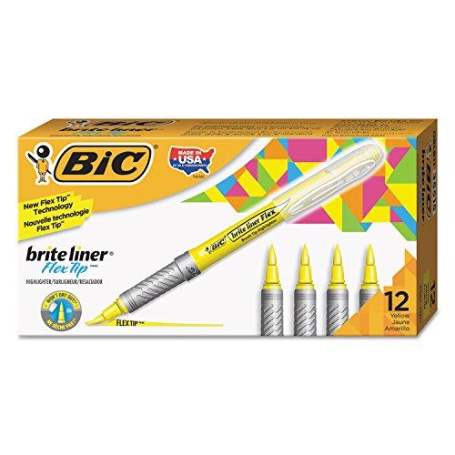 BIC GBLB11YE Brite Liner Flex Tip Resaltador, punta de cepillo, amarillo, 1 docena