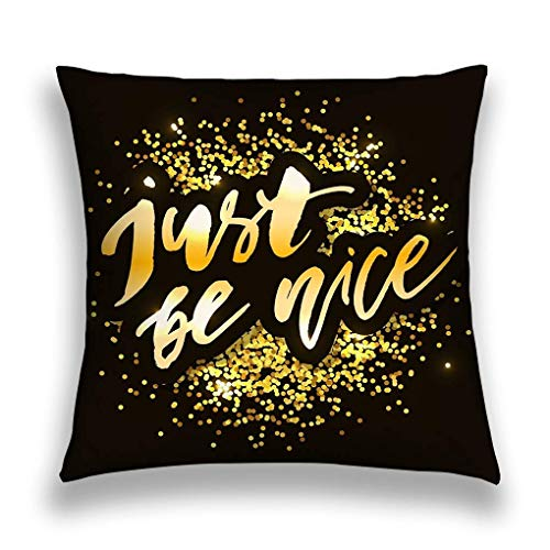 Decorative Cotton Velvet Vintage Home Throw Pillow Case Cushion Cover just be Nice Phrase Lettering Calligraphy Gold IDE